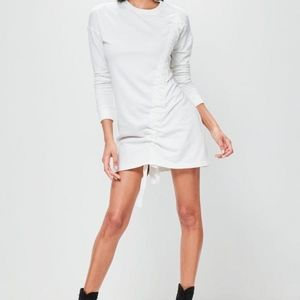 Missguided petite white ruched sweater dress